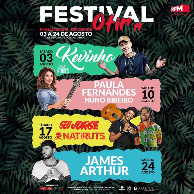 James Arthur, Seu Jorge e Naitiruts no Festival Ofir 2019